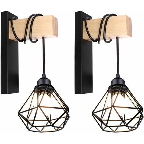 Aplique de Pared de Madera Retro Lámpara de Pared Forma de Diamante Luz de Pared Creativo Moderno para La Mesita de Noche Loft Escalera Negro(2pcs)