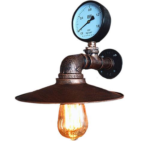 Aplique de pared de tubo de agua E27 Lámpara de pared industrial de metal Vintage con estilo retro para barra cocina sala de estar dormitorio
