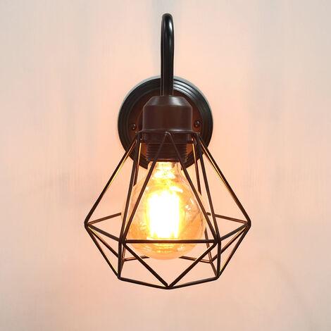 Aplique de Pared Diamante Lámpara de Pared Industrial Luz de Pared Creativa Lámpara de Techo Jaula Vintage Retro (Negro)