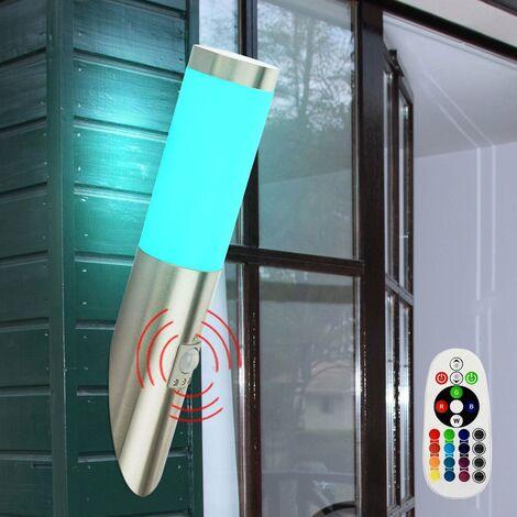 Aplique de pared exterior luz movimiento de cambio de color en el sistema incluyendo lámparas LED RGB