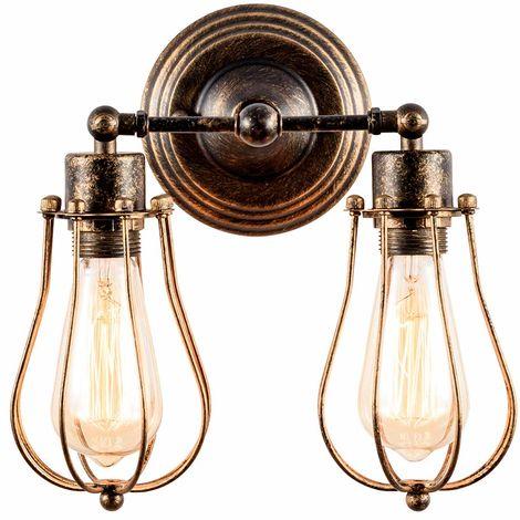 Aplique de pared Industrial Lámpara Rústica para Loft Antiguo Enchufe de alambre Ajustable Edison Vintage Metal Retro Lámparas para gazebo de dormitorio(con 2 luces) (Bronce)