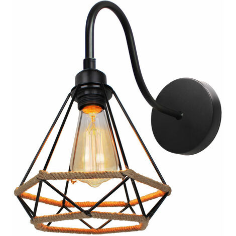 Aplique de Pared Industrial Retro Lámpara de Pared de Cuerda de Cáñamo Ø20cm Diamante Luz de Pared Vintage para Cafetería Oficina Sala de Estar Bar Negro