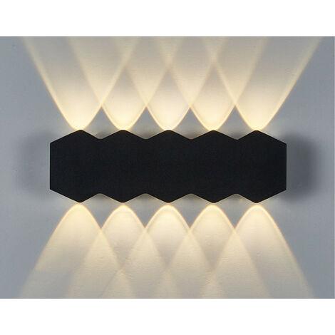 Aplique de Pared Interior Led 10W Lámpara de Pared Moderna Negra, Luz de Pared de Aluminio Luz Cálida para El Pasillo del Comedor del Dormitorio
