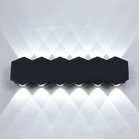 Aplique de Pared Interior Led 12W Lámpara de Pared Moderna Negra, Luz de Pared de Aluminio Blanco Frio para El Pasillo del Comedor del Dormitorio