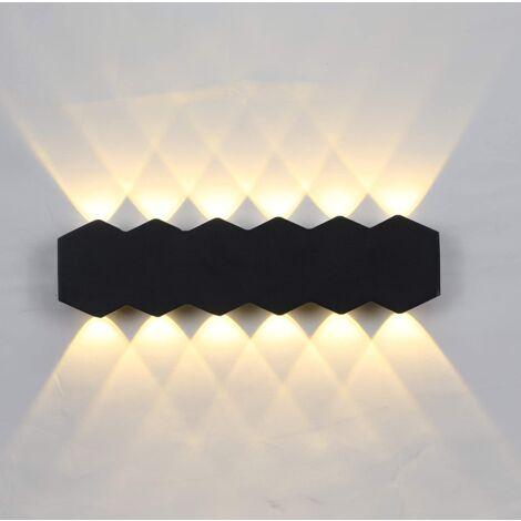 Aplique de Pared Interior Led 12W Lámpara de Pared Moderna Negra, Luz de Pared de Aluminio Luz Cálida para El Pasillo del Comedor del Dormitorio