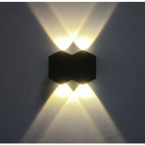 Aplique de Pared Interior Led 4W Lámpara de Pared Moderna Negra, Luz de Pared de Aluminio Luz Cálida para El Pasillo del Comedor del Dormitorio