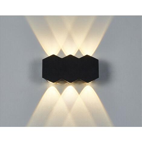 Aplique de Pared Interior Led 6W Lámpara de Pared Moderna Negra, Luz de Pared de Aluminio Luz Cálida para El Pasillo del Comedor del Dormitorio
