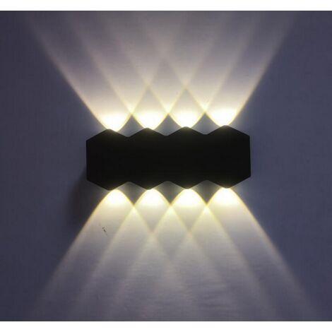 Aplique de Pared Interior Led 8W Lámpara de Pared Moderna Negra, Luz de Pared de Aluminio Luz Cálida para El Pasillo del Comedor del Dormitorio