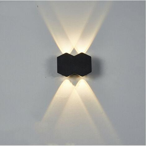 Aplique de Pared Interior Led Negra Lámpara de Pared Moderna Luz de Pared de Aluminio Luz Cálida para El Pasillo del Comedor del Dormitorio