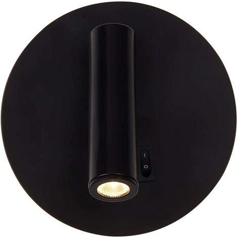 Aplique de pared interior LED, para lectura Lámpara de lectura LED flexible (3 + 6W) Aplique de pared LED de lectura con interruptor Blanco cálido 3000K Moderno, Diámetro: 14 cm [Clase energética A +]