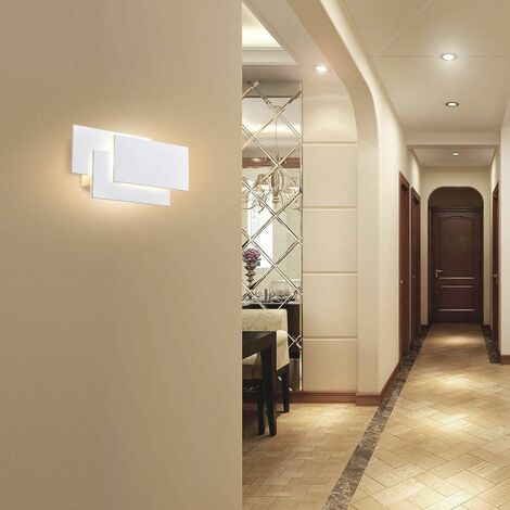 Aplique de pared interior LITZEE, moderno aplique LED blanco 24W, IP20, no regulable, iluminación de diseño de aluminio decorativo para dormitorio, pasillo, sala de estar, oficina, blanco cálido [clase energética A +]