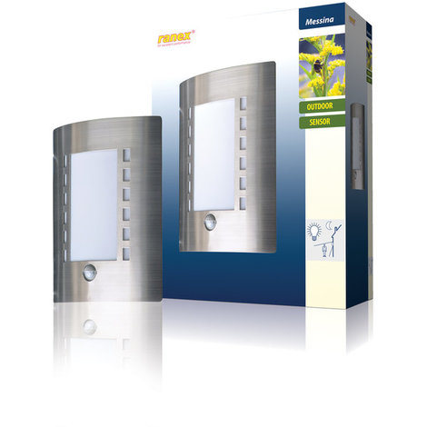 Aplique de pared IP44/E27 con sensor de movimiento Ranex