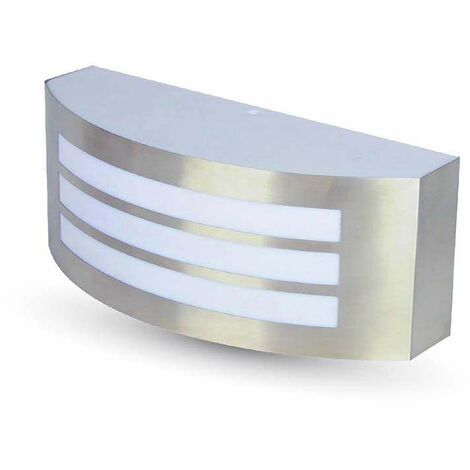 Aplique de pared Kiubic3 para bombilla LED E27 IP44 Acero inoxidable