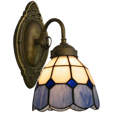 Aplique de pared Lámpara de estilo de pantalla de vidrio Lámpara retro Lámpara decorativa de pared de fuego-Plata