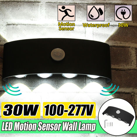 Aplique de pared LED 30W Iluminación interior interior con sensor de movimiento 3000K NEGRO