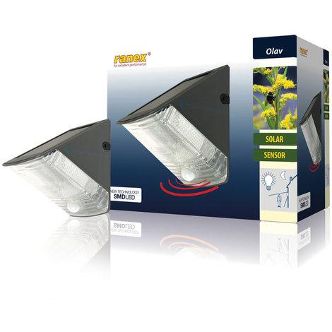 Aplique de pared LED solar con detección de movimiento Ranex