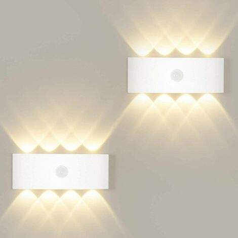 Aplique de pared LITZEE 8W con detector de movimiento, luz de pared de encendido y apagado automático blanco cálido 3000K, sensor de luz de pared para exterior / interior IP65