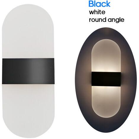 Aplique de pared moderno de CA 85-265V 6W para arriba abajo de la lampara, luces de acrilico montadas en la pared de los LED,angulo negro, blanco y redondo
