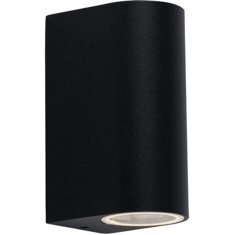 Aplique de pared para exterior terraza exterior de aluminio iluminación puerta de entrada Up Down aplique exterior negro, cambio de color regulable con mando a distancia, 2x LED RGB 3,5W 300lm 3000K, An x Al 6,5x14,5 cm