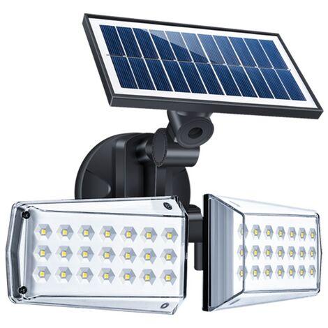 Aplique de pared solar exterior 42LED 100W sensor de movimiento de doble cabezal