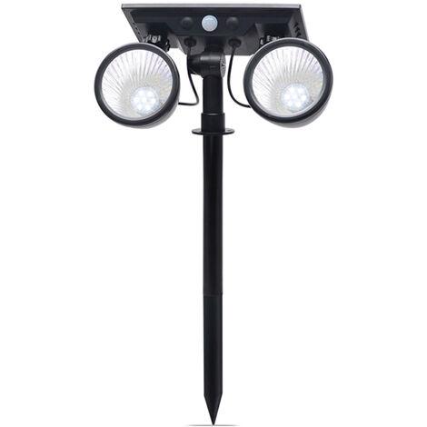 Aplique de pared solar, luz de cesped bicolor de dos cabezas, IP65, cuatro modos de iluminacion