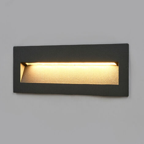 Aplique empotrable LED Loya oscuro, pared exterior