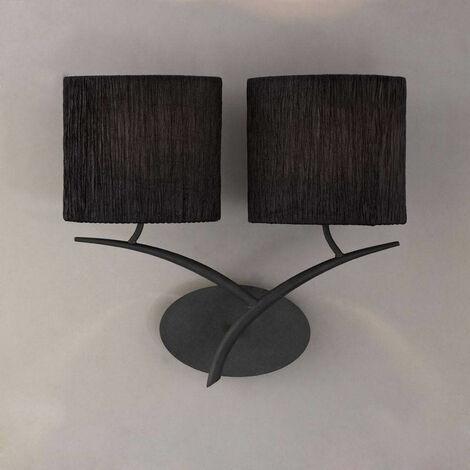 Aplique Eve con interruptor de 2 luces E27, antracita con pantalla ovalada negra
