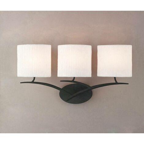 Aplique Eve con interruptor de 3 luces E27, antracita con pantalla ovalada blanca