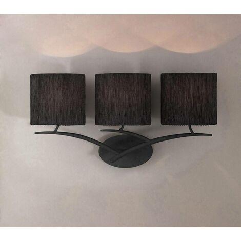 Aplique Eve con interruptor de 3 luces E27, antracita con pantalla ovalada negra