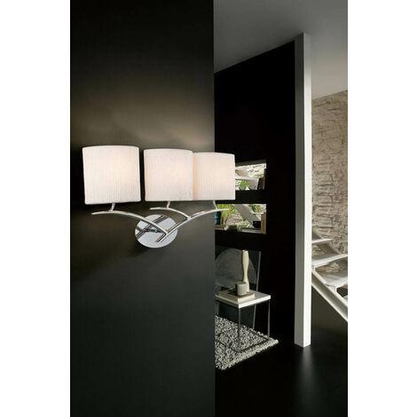 Aplique Eve con interruptor de 3 luces E27, cromo pulido con pantallas ovaladas blancas