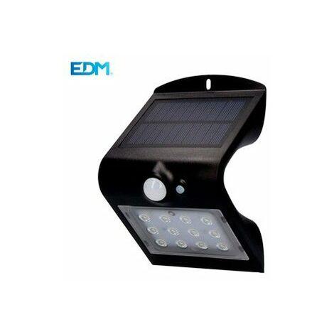 Aplique Iluminacion 1,5W 220Lm Solar Edm Pl Negro Recargable