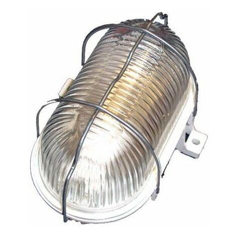 Aplique Iluminacion Ovalado Exterior E27 60W Pvc Blanco Rejilla/Metalica Fenoplastica