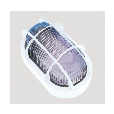 Aplique Iluminacion Ovalado Exterior E27 60W Pvc Blanco Rejilla/Plastico Fenoplastica