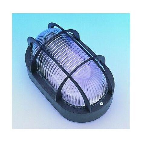Aplique Iluminacion Ovalado Exterior E27 60W Pvc Negro Rejilla/Plastico Fenoplastica