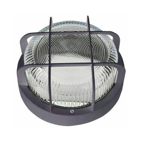 Aplique Iluminacion Redondo Exterior 100W Ip 44 Negro Rejilla/Plastico Fenoplastica