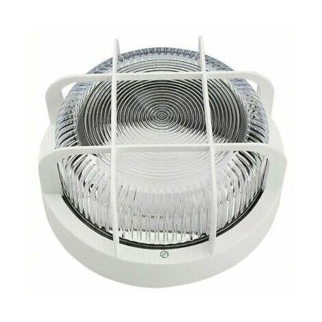 Aplique Iluminacion Redondo Exterior 100W Ipp 44 Blanco Rejilla/Plastico Fenoplastica