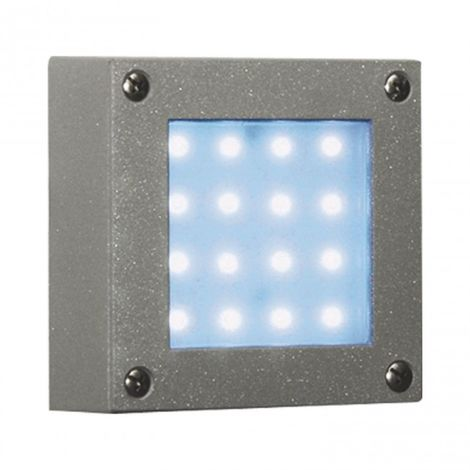 Aplique jardín 16 LED 1.5W cuadrado color plata luz azul