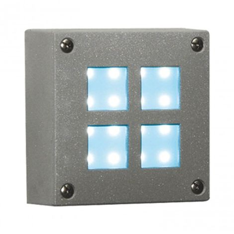 Aplique jardín 16 LED 1.5W cuadrado luz azul color plata