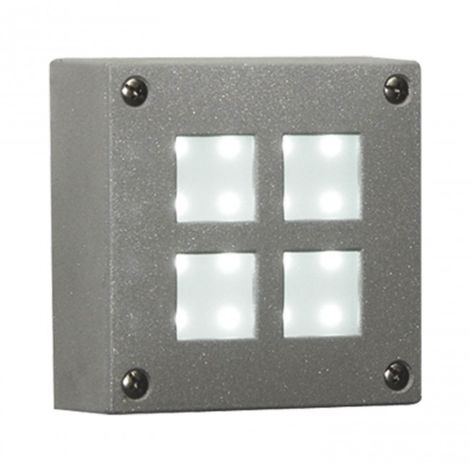 Aplique jardín 16 LED 1.5W Cuadrado luz blanca