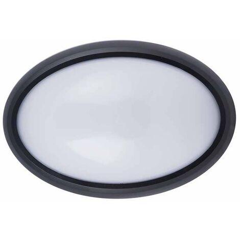 Plafón LED superficie oval 8W 120° IP54 Negro Temperatura de color - 4000K Blanco natural