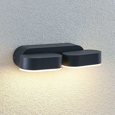 Aplique LED de exterior Madlin, rotatorio, 2 luces