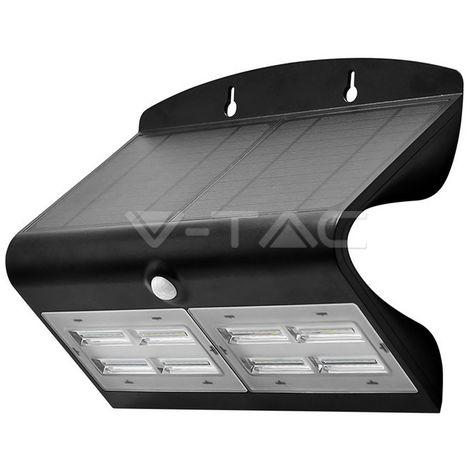Aplique LED de pared Solar con sensor PIR 4000K 6.8W IP65 Blanco y Negro