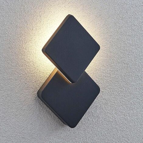 Aplique LED exterior Kyani, luz indirecta, angular