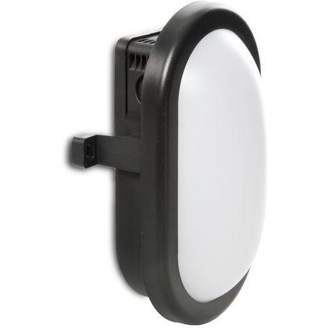 Aplique LED IP54 10W 700Lm 40000H Oval Negro | Blanco Frío (RU-1677-CW)