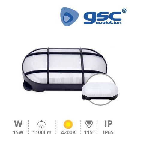 Aplique LED oval Cercis con rejilla 15W 4200K Negro GSC 200205002