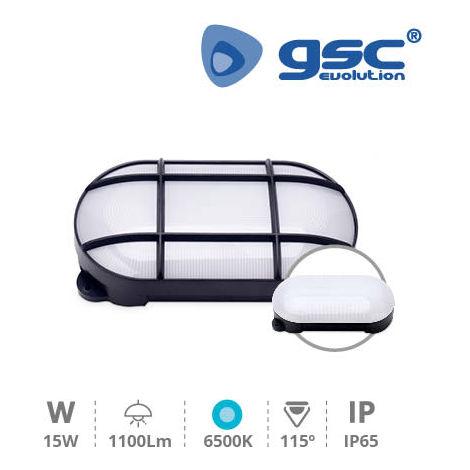 Aplique LED oval Cercis con rejilla 15W 6500K Negro GSC 200205003