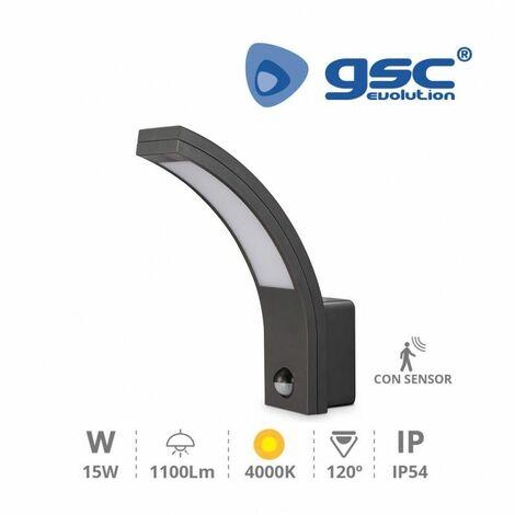Aplique LED pared con sensor Havasu 15W 4200K Gris GSC 200205010