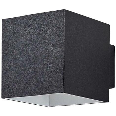 Aplique LED Rocco negro con forma cúbica