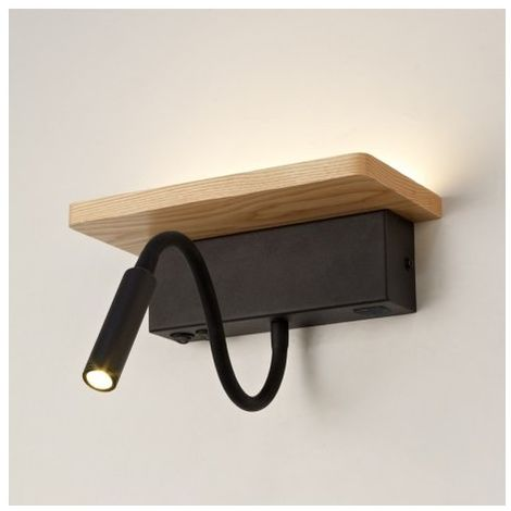 APLIQUE MADERA BACH LED + USB Color madera