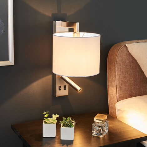 Aplique Mavis con luz de lectura LED, blanco